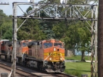 BNSF 5455 leads an intermodal past the Rochelle Railroad Park
